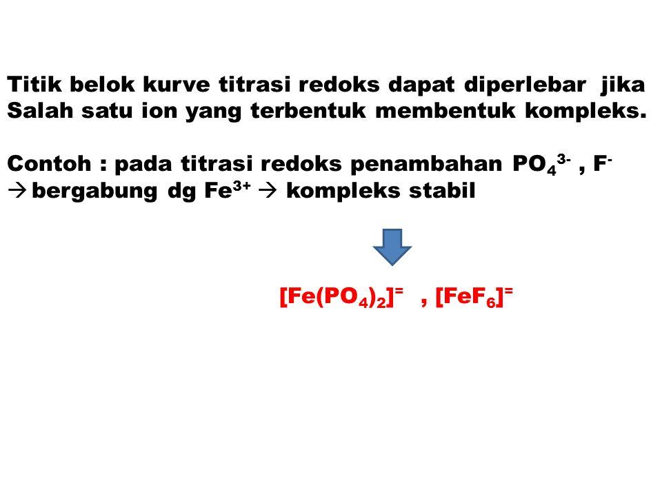 Titik belok kurve titrasi redoks dapat diperlebar jika