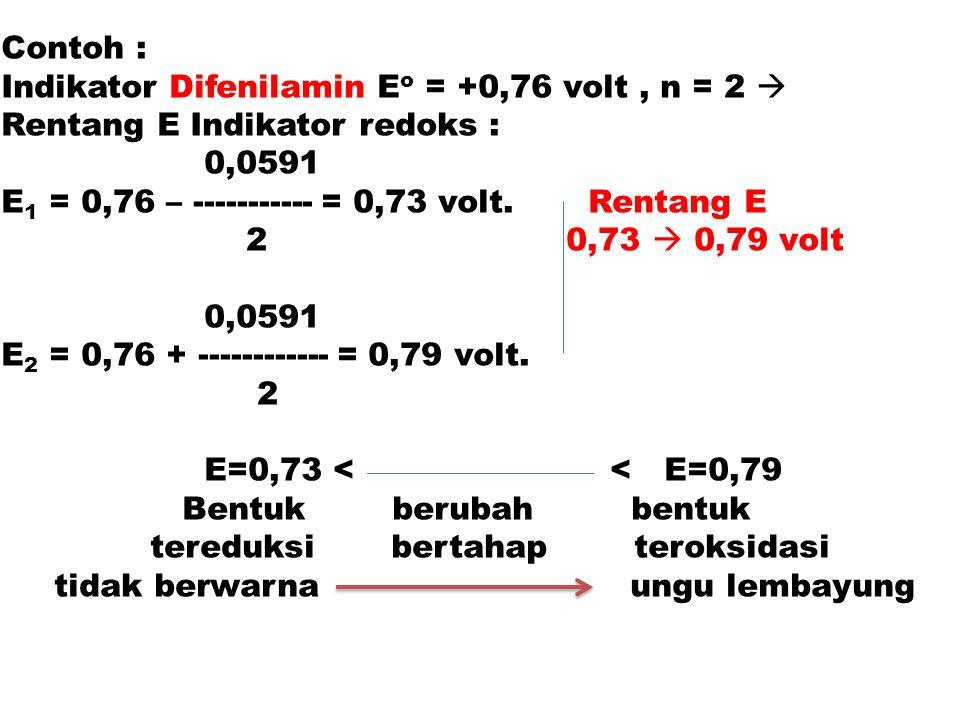 Contoh : Indikator Difenilamin Eo = +0,76 volt , n = 2  Rentang E Indikator redoks : 0,0591. E1 = 0,76 – ----------- = 0,73 volt. Rentang E.