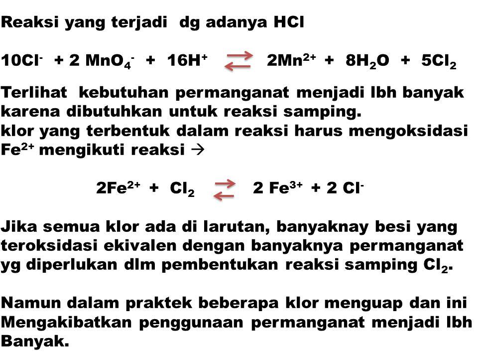 Reaksi yang terjadi dg adanya HCl