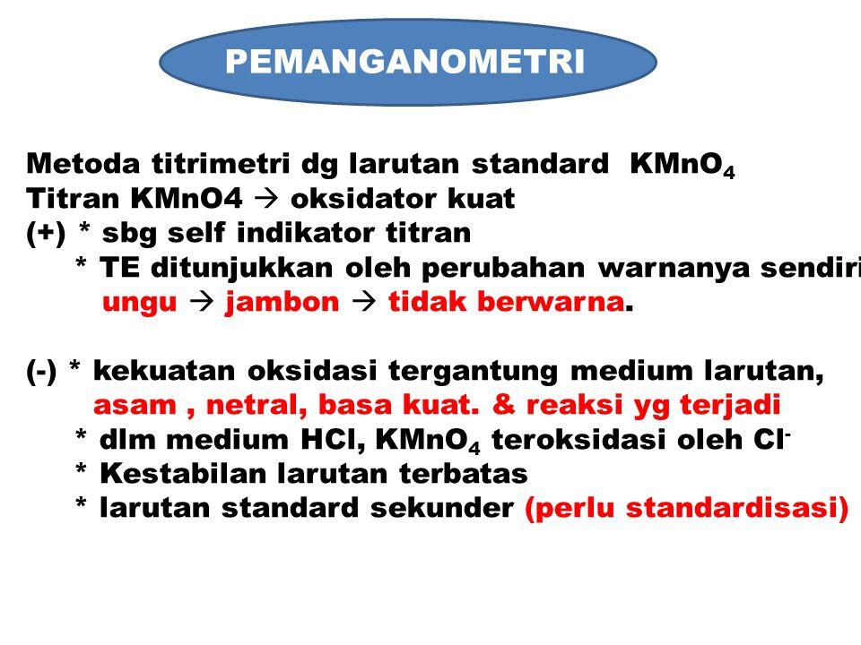 PEMANGANOMETRI Metoda titrimetri dg larutan standard KMnO4