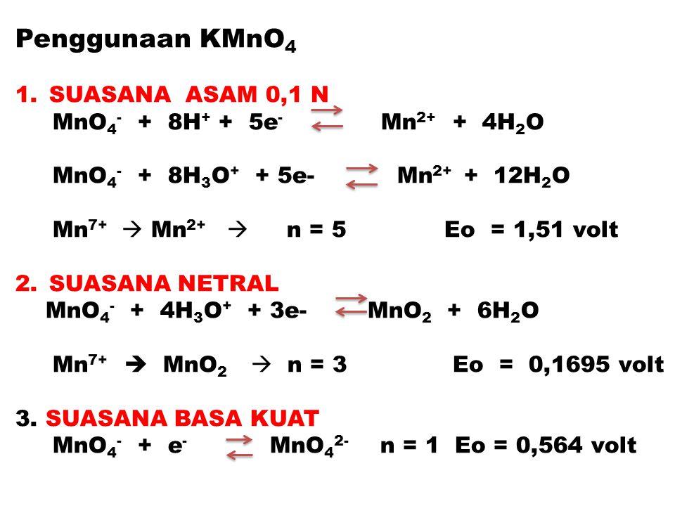 Penggunaan KMnO4 SUASANA ASAM 0,1 N MnO4- + 8H+ + 5e- Mn2+ + 4H2O