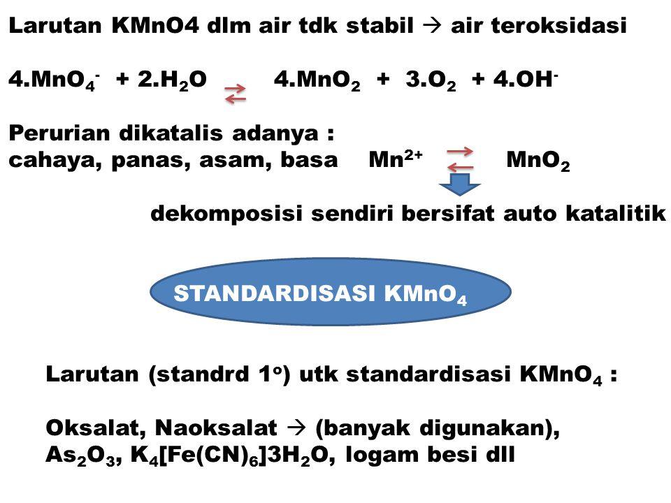 Larutan KMnO4 dlm air tdk stabil  air teroksidasi