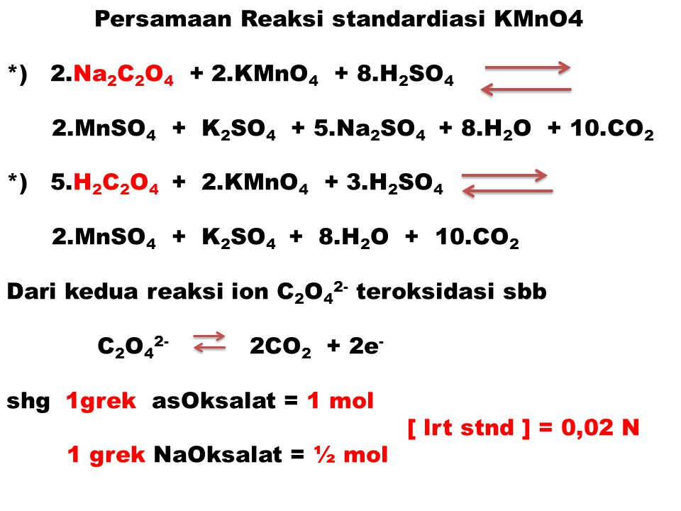Persamaan Reaksi standardiasi KMnO4
