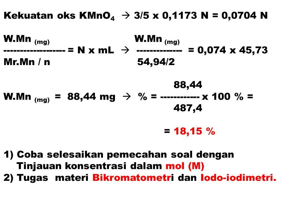 Kekuatan oks KMnO4  3/5 x 0,1173 N = 0,0704 N