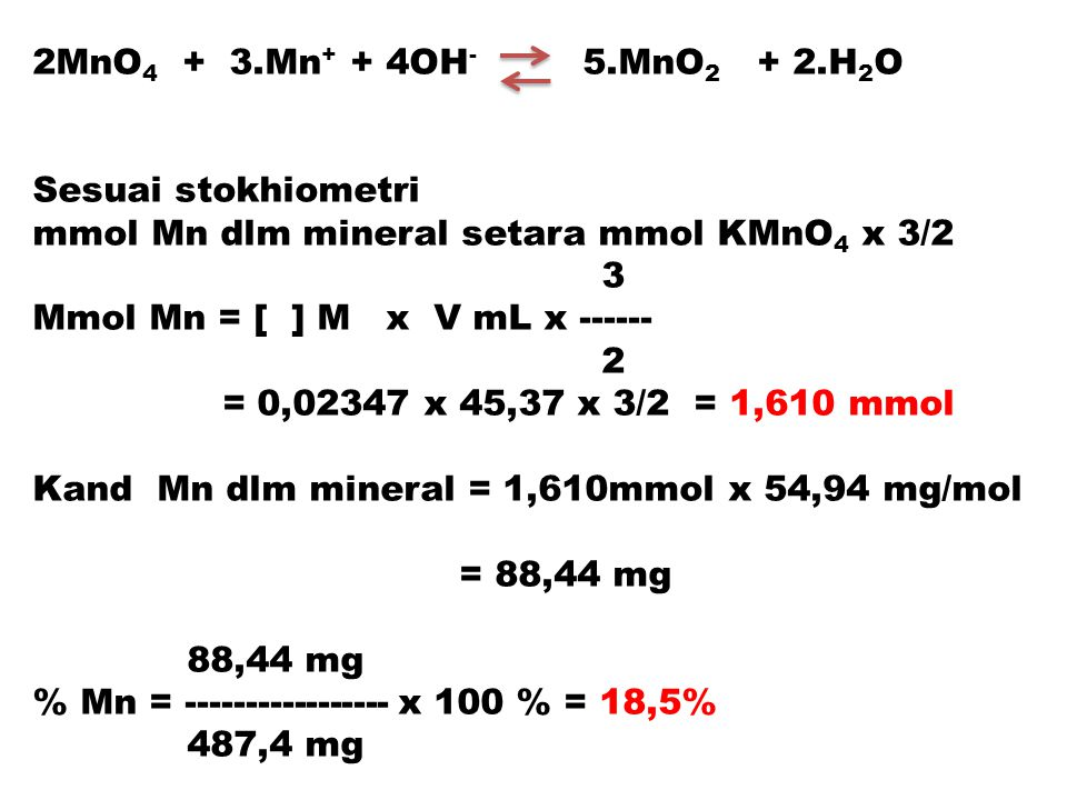 2MnO4 + 3.Mn+ + 4OH- 5.MnO2 + 2.H2O Sesuai stokhiometri. mmol Mn dlm mineral setara mmol KMnO4 x 3/2.