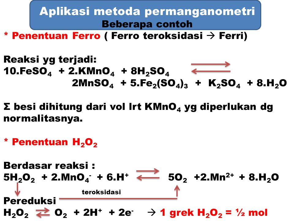 Aplikasi metoda permanganometri