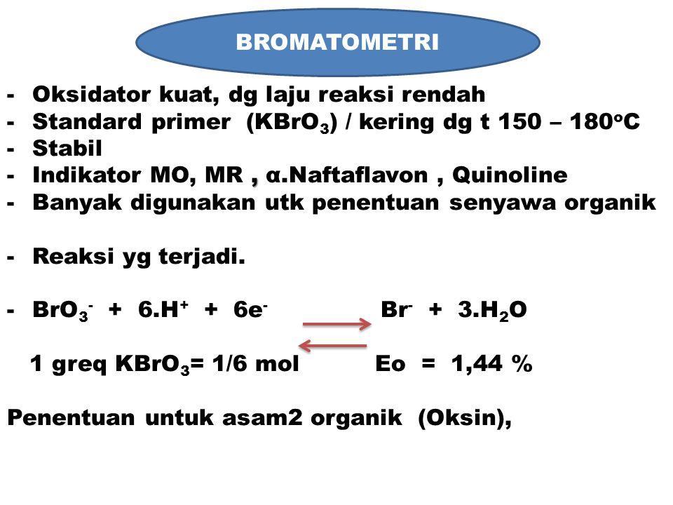 BROMATOMETRI KBrO3 BROMATOMETRI Oksidator kuat, dg laju reaksi rendah