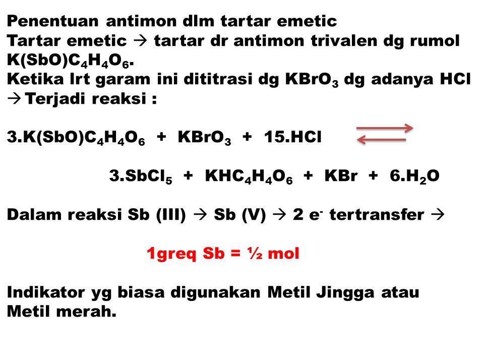 Penentuan antimon dlm tartar emetic