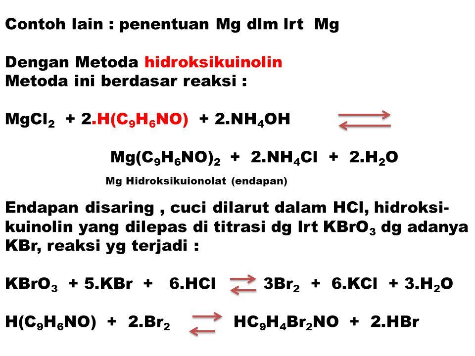 Contoh lain : penentuan Mg dlm lrt Mg