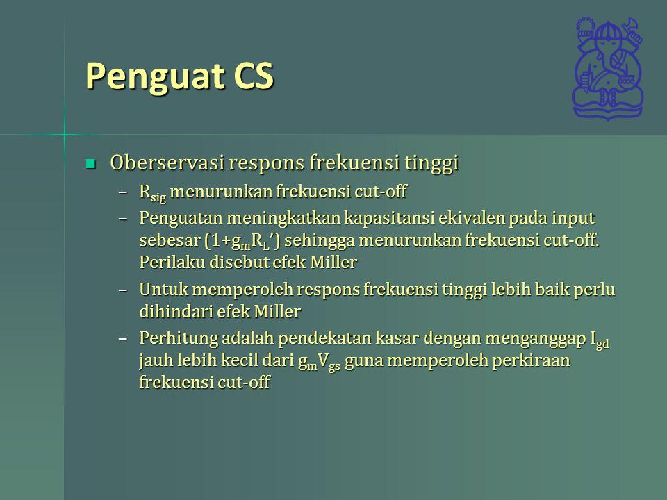 Penguat CS Oberservasi respons frekuensi tinggi