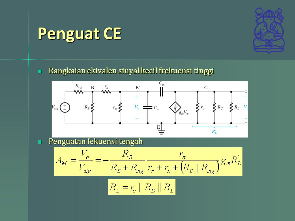 Penguat CE Rangkaian ekivalen sinyal kecil frekuensi tinggi