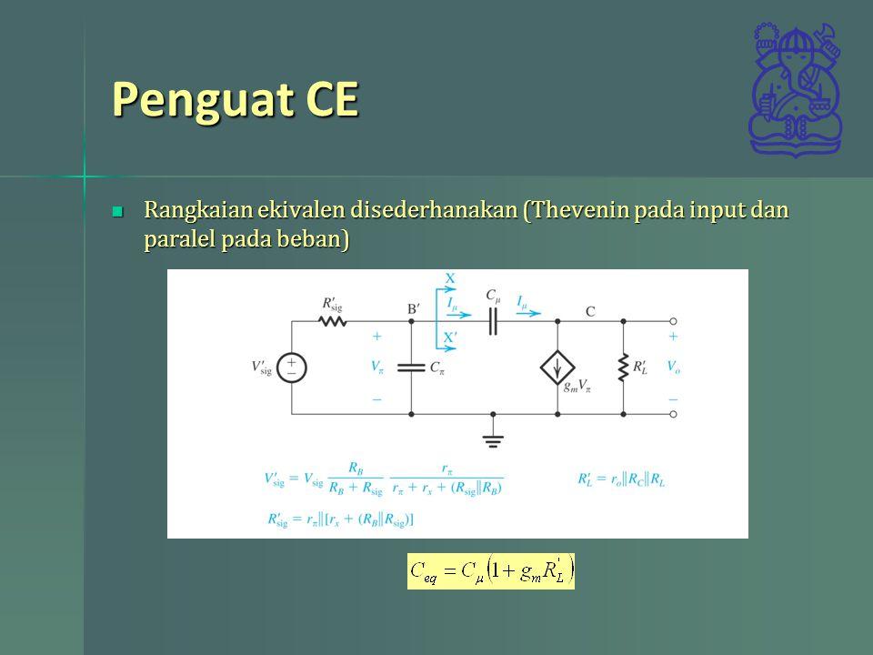 Penguat CE Rangkaian ekivalen disederhanakan (Thevenin pada input dan paralel pada beban)