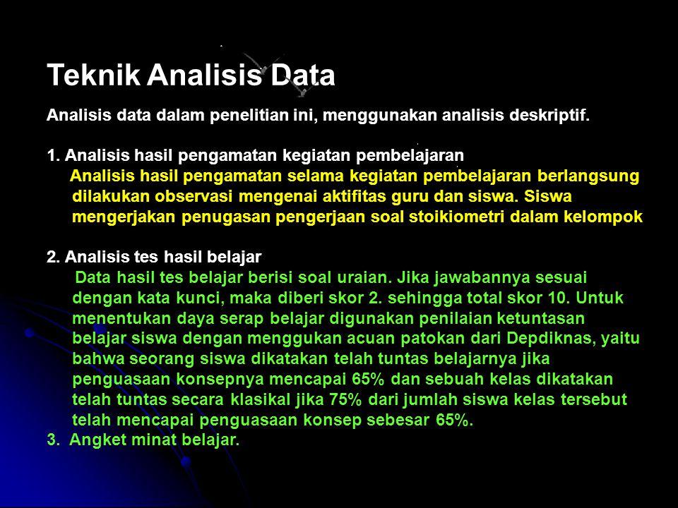Teknik Analisis Data Analisis data dalam penelitian ini, menggunakan analisis deskriptif. 1. Analisis hasil pengamatan kegiatan pembelajaran.