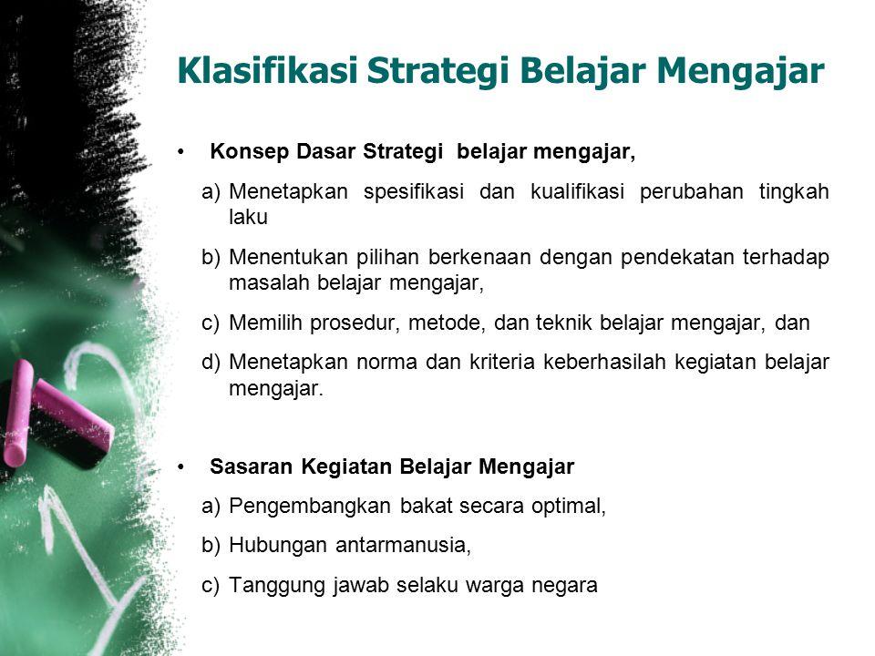 Klasifikasi Strategi Belajar Mengajar