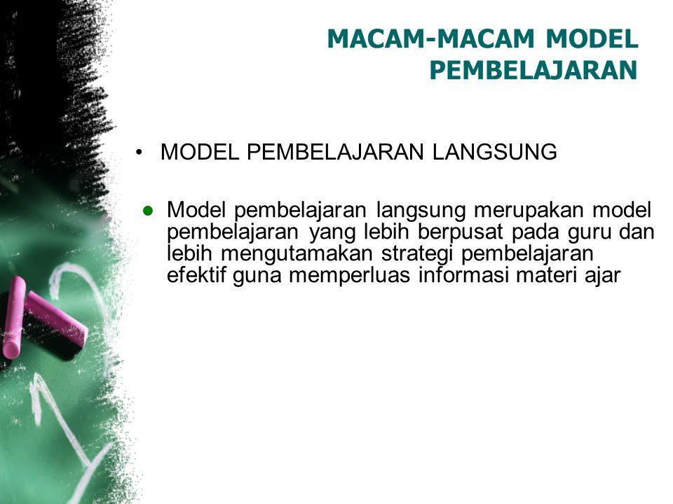 MACAM-MACAM MODEL PEMBELAJARAN
