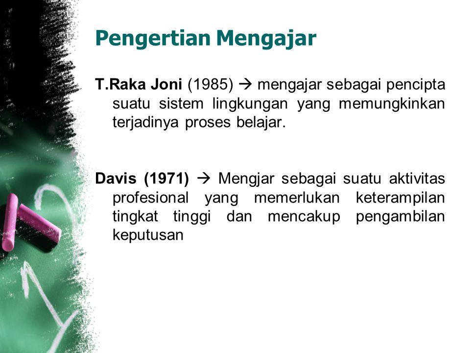 Pengertian Mengajar T.Raka Joni (1985)  mengajar sebagai pencipta suatu sistem lingkungan yang memungkinkan terjadinya proses belajar.