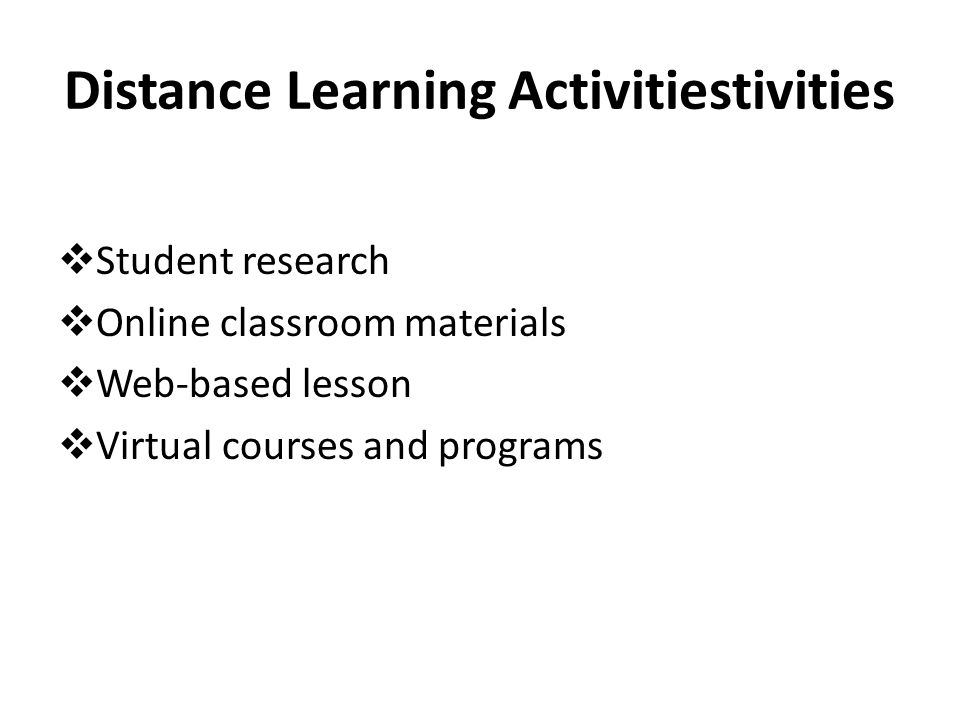 Distance Learning Activitiestivities
