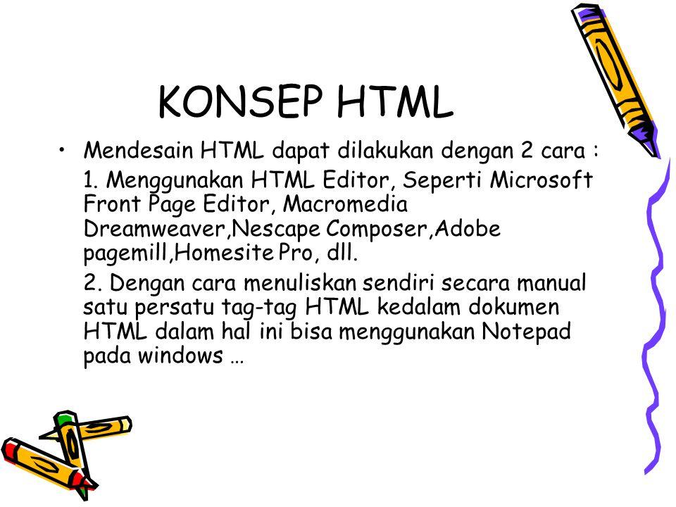 KONSEP HTML Mendesain HTML dapat dilakukan dengan 2 cara :