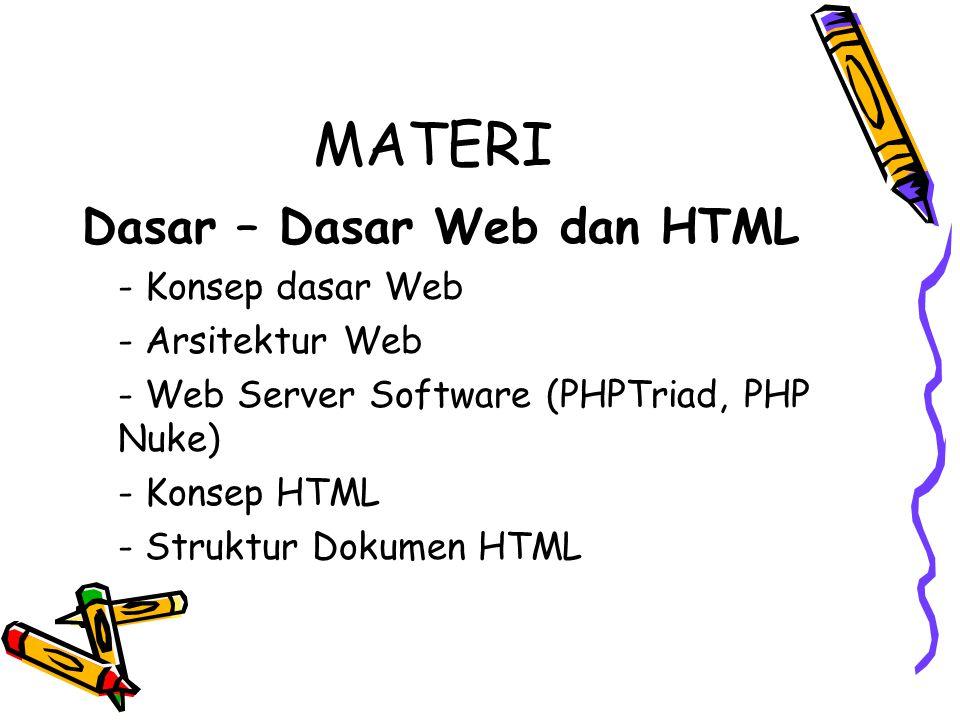 MATERI Dasar – Dasar Web dan HTML - Konsep dasar Web - Arsitektur Web