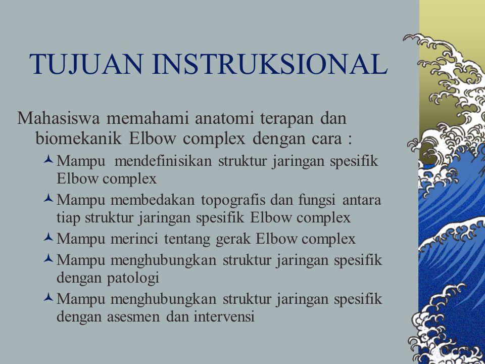 TUJUAN INSTRUKSIONAL Mahasiswa memahami anatomi terapan dan biomekanik Elbow complex dengan cara :