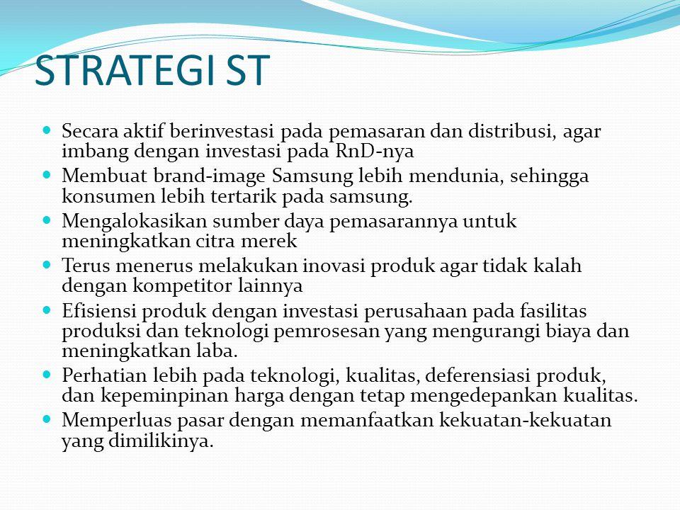 STRATEGI ST Secara aktif berinvestasi pada pemasaran dan distribusi, agar imbang dengan investasi pada RnD-nya.