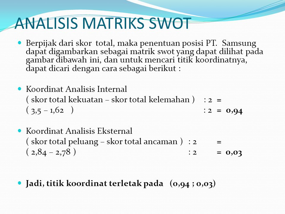 ANALISIS MATRIKS SWOT