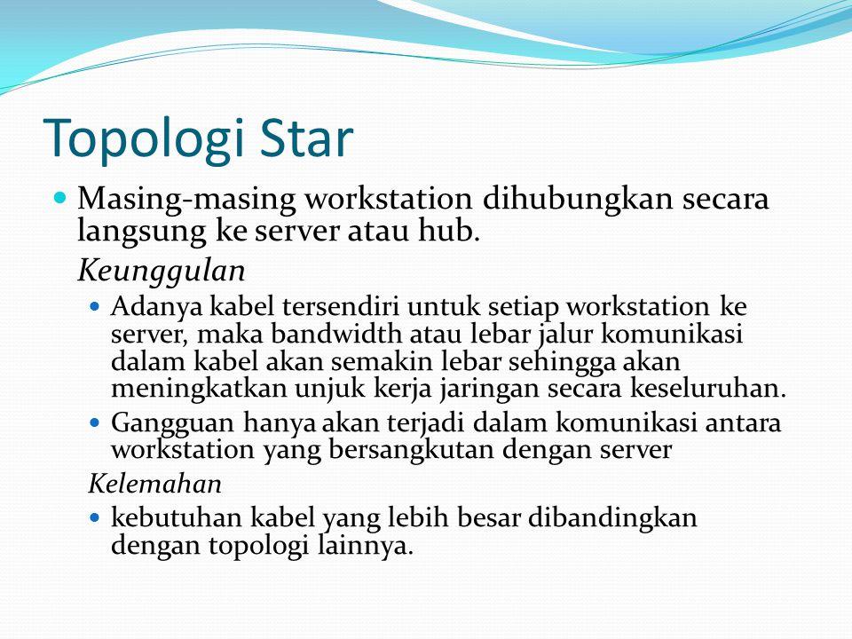 Topologi Star Masing-masing workstation dihubungkan secara langsung ke server atau hub. Keunggulan.