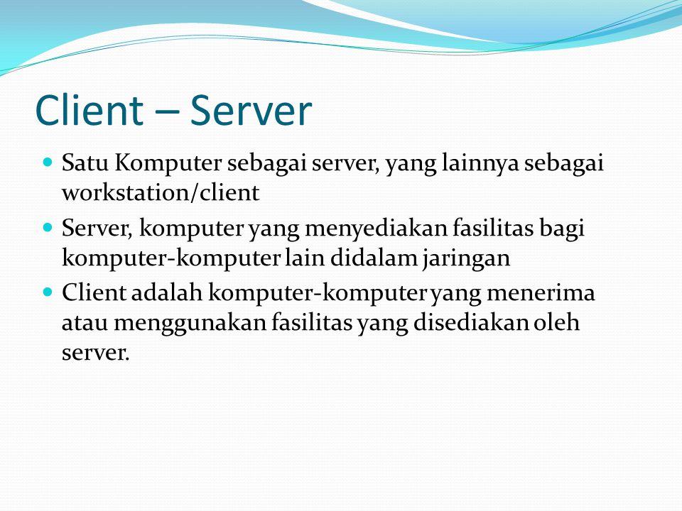 Client – Server Satu Komputer sebagai server, yang lainnya sebagai workstation/client.