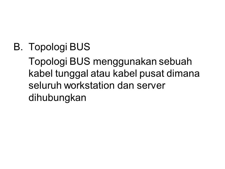 Topologi BUS Topologi BUS menggunakan sebuah kabel tunggal atau kabel pusat dimana seluruh workstation dan server dihubungkan.