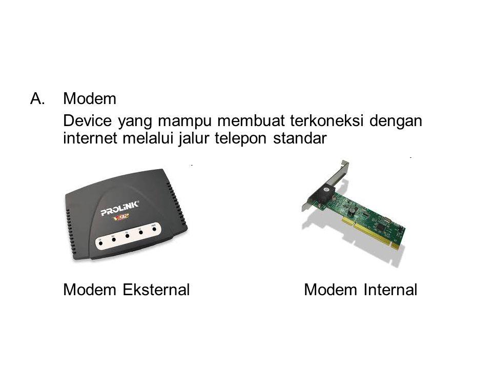 Modem Device yang mampu membuat terkoneksi dengan internet melalui jalur telepon standar.