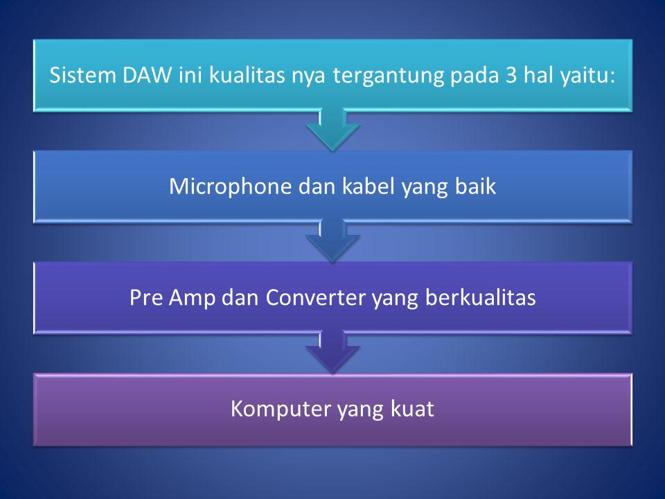 Sistem DAW ini kualitas nya tergantung pada 3 hal yaitu: