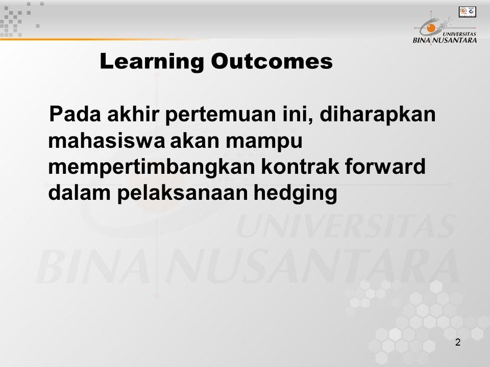 Learning Outcomes Pada akhir pertemuan ini, diharapkan mahasiswa akan mampu mempertimbangkan kontrak forward dalam pelaksanaan hedging.