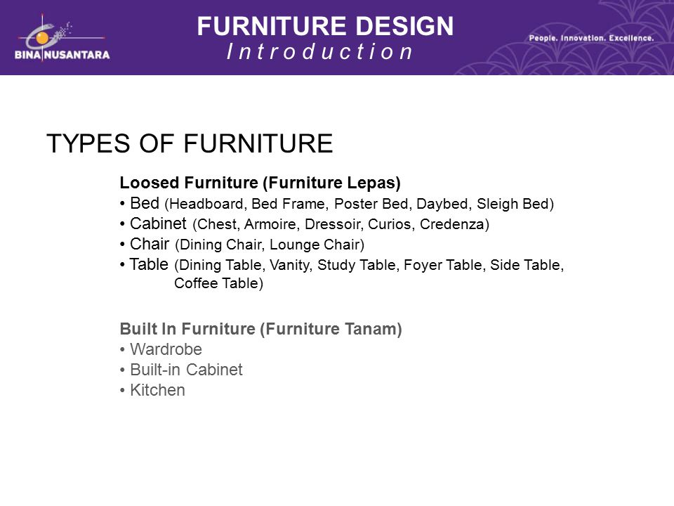 FURNITURE DESIGN TYPES OF FURNITURE I n t r o d u c t i o n