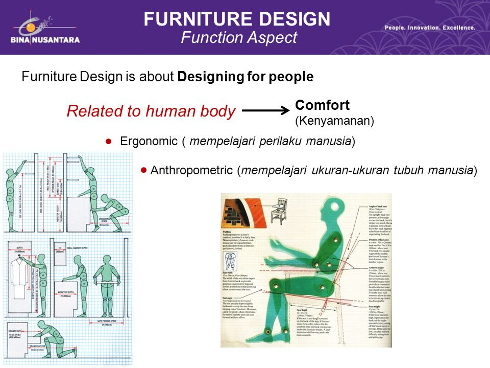 FURNITURE DESIGN Function Aspect Related to human body