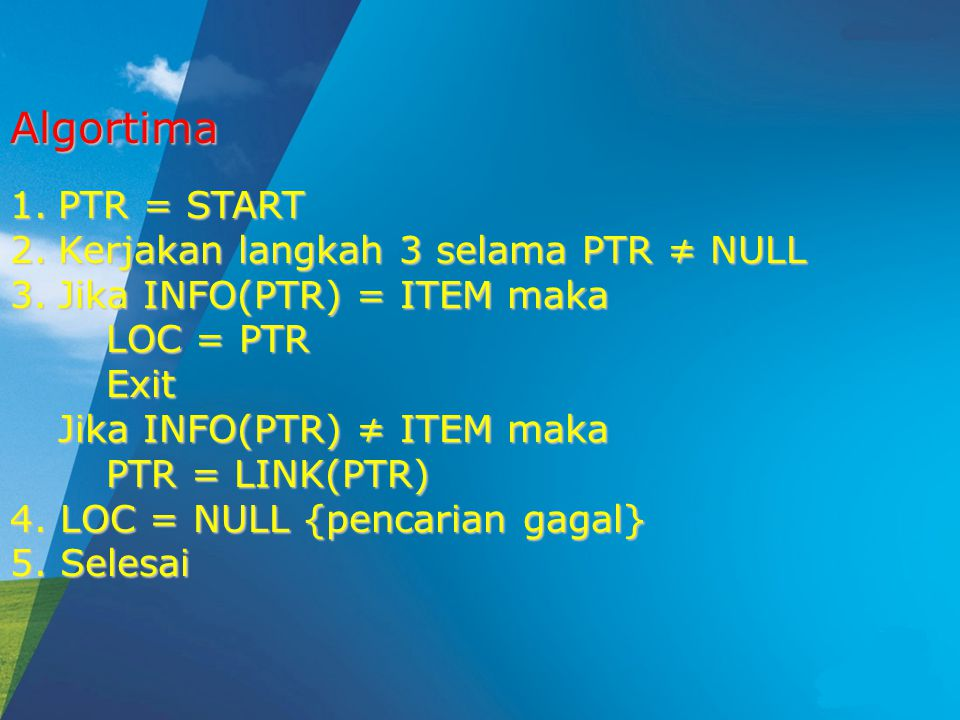 Algortima PTR = START Kerjakan langkah 3 selama PTR ≠ NULL