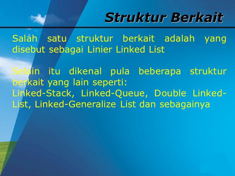Struktur Berkait Salah satu struktur berkait adalah yang disebut sebagai Linier Linked List.