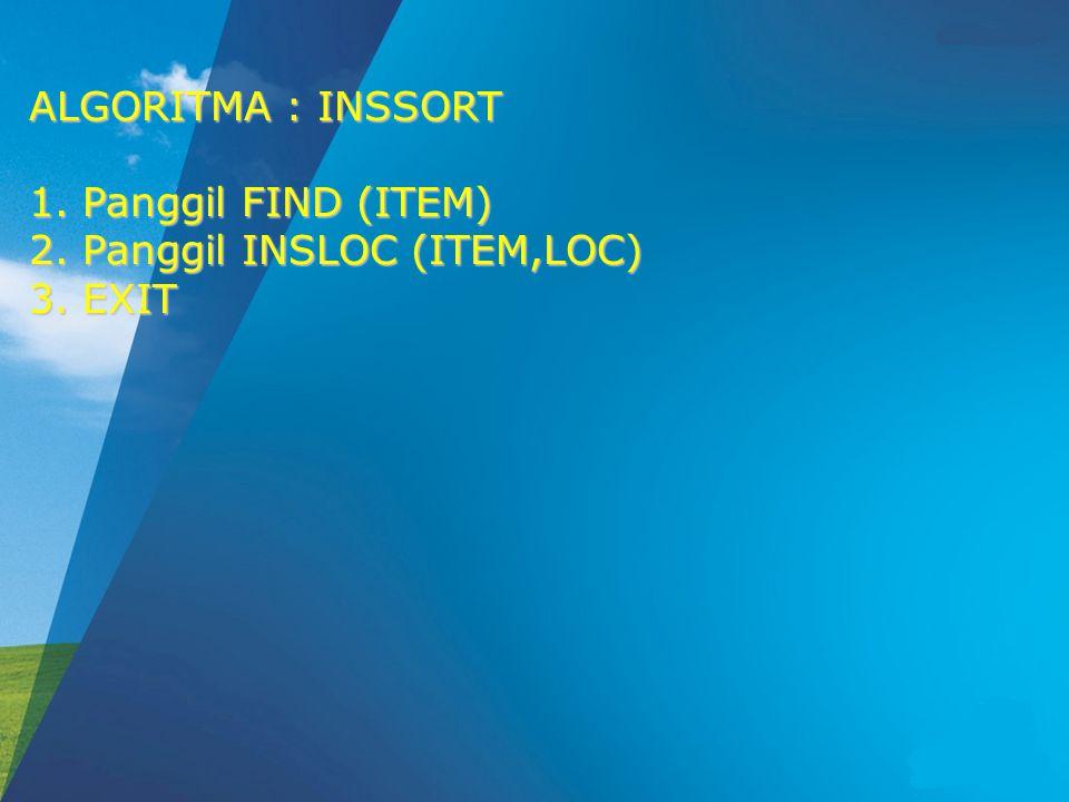 ALGORITMA : INSSORT Panggil FIND (ITEM) Panggil INSLOC (ITEM,LOC) EXIT