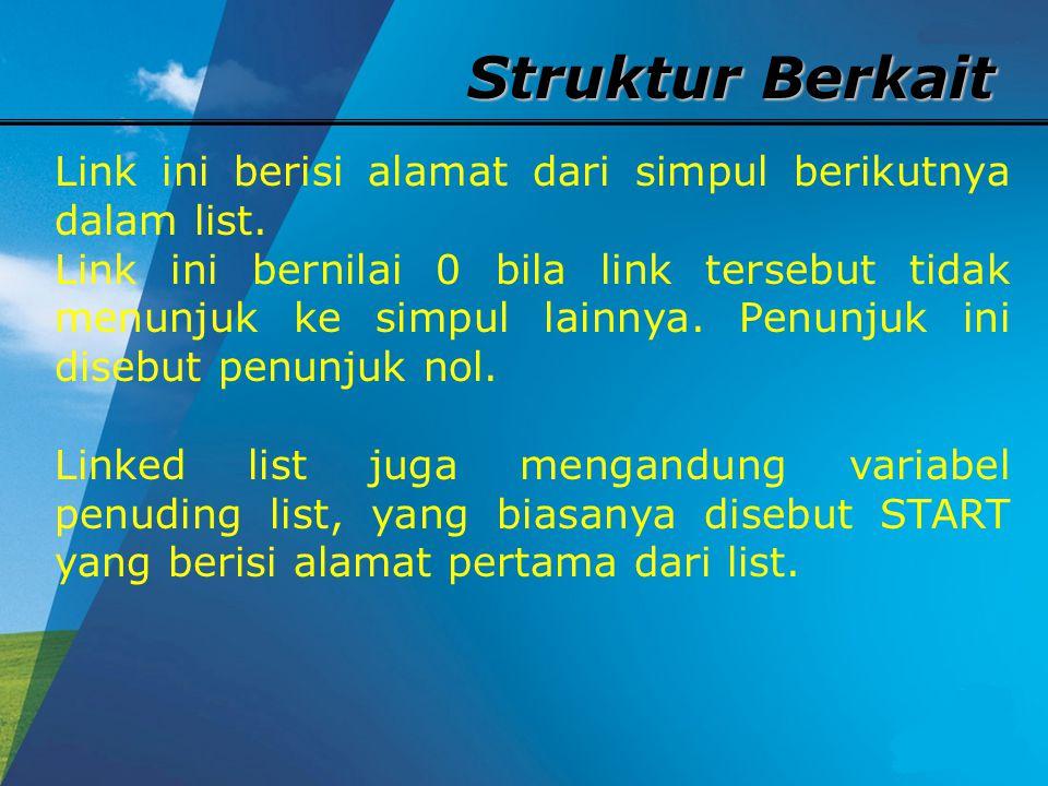 Struktur Berkait Link ini berisi alamat dari simpul berikutnya dalam list.