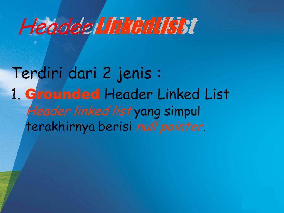 Header LinkedList Header LinkedList Terdiri dari 2 jenis :