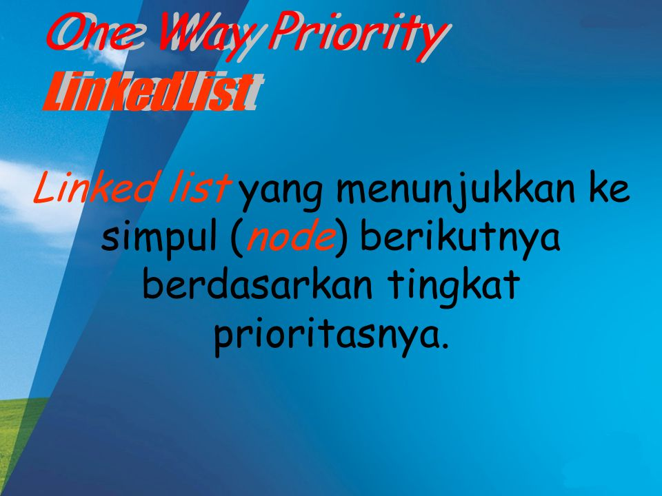 One Way Priority LinkedList One Way Priority LinkedList