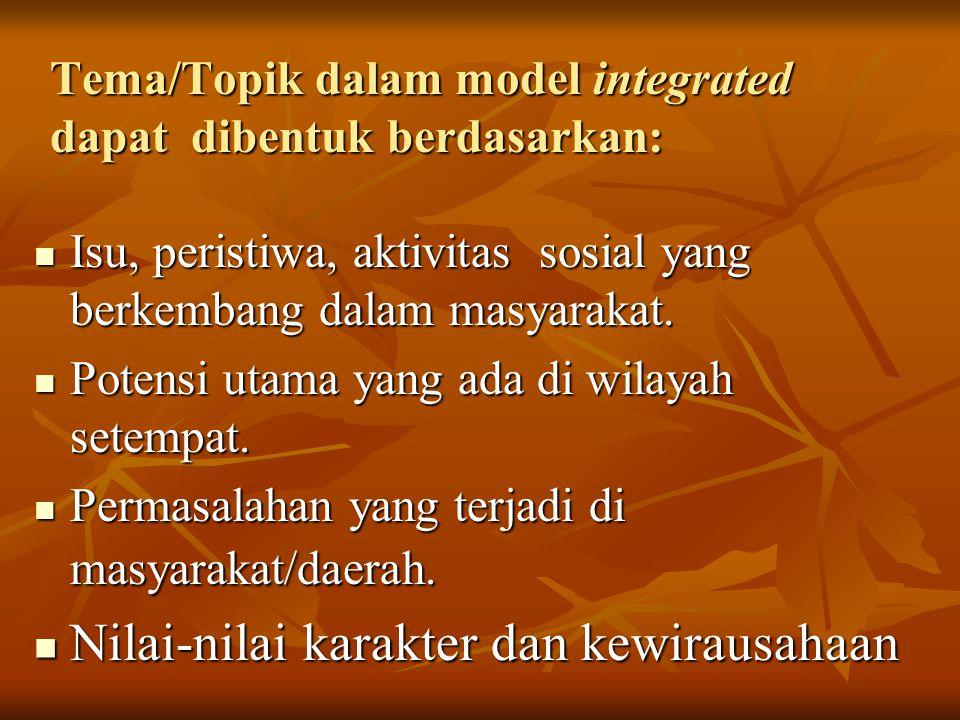 Tema/Topik dalam model integrated dapat dibentuk berdasarkan: