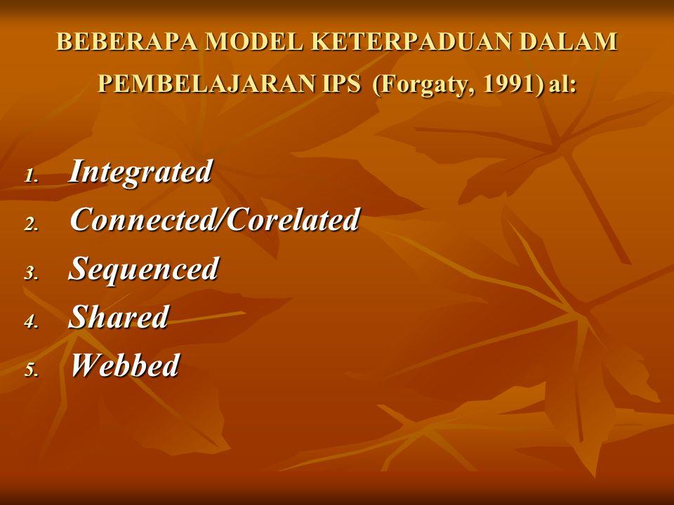 BEBERAPA MODEL KETERPADUAN DALAM PEMBELAJARAN IPS (Forgaty, 1991) al: