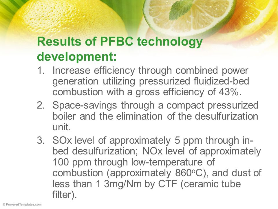 Results of PFBC technology development: