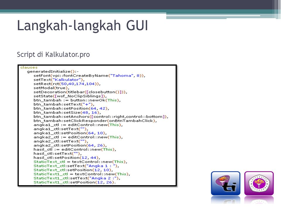 Langkah-langkah GUI Script di Kalkulator.pro