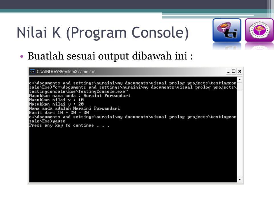 Nilai K (Program Console)