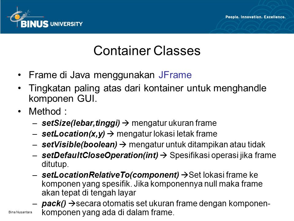 Container Classes Frame di Java menggunakan JFrame