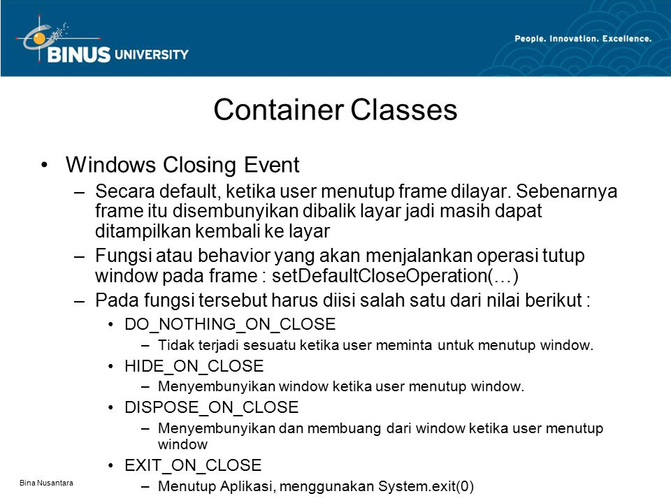 Container Classes Windows Closing Event