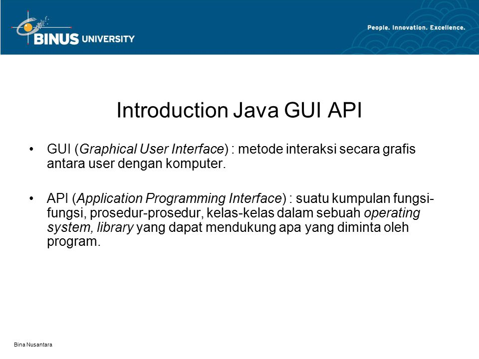 Introduction Java GUI API