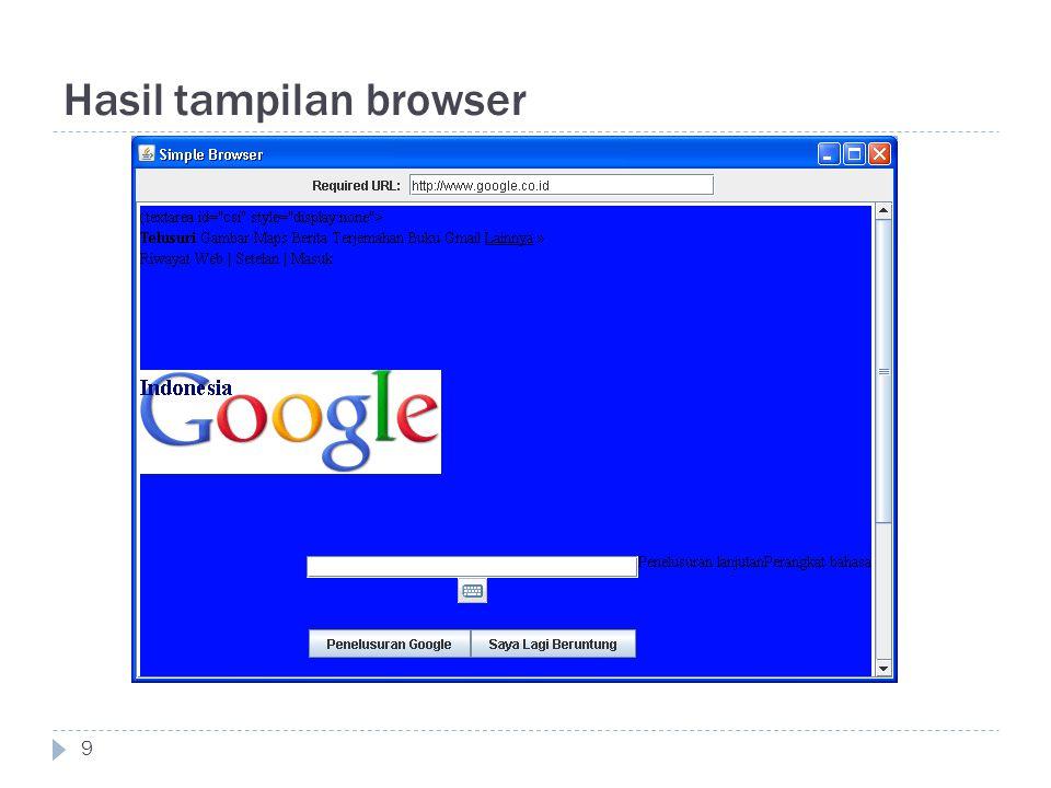 Hasil tampilan browser