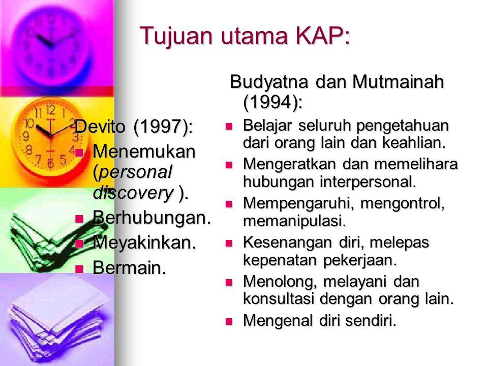 Tujuan utama KAP: Budyatna dan Mutmainah (1994): Devito (1997):